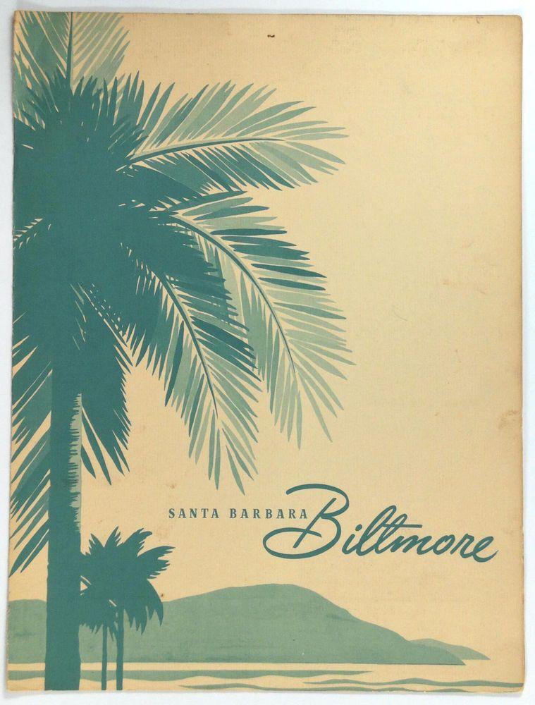 1960's Original Vintage Menu SANTA BARBARA BILTMORE HOTEL