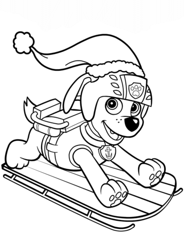 Zuma On Sled Coloring Page Coloriage Pat Patrouille Dessin Pat Patrouille Coloriage Paw Patrol