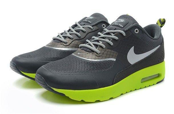 Pas cher France Nike Air Max Thea Homme Chaussures Noir Vert Argent France