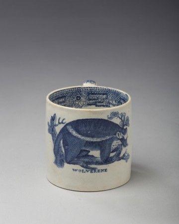 Wolverene Staffordshire Pearlware Dark Blue Transfer Printed