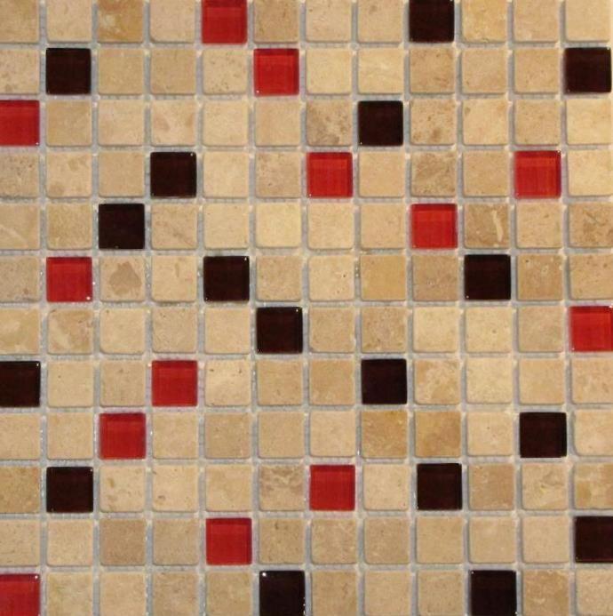 1x1 Travertine Gl Mix Red And Dark Brown Mosaic Tile A American Custom Flooring