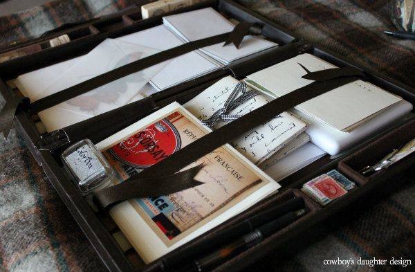 Vintage letter writing kits. This is a great way to organize your mailing supplies, as well as give a going away gift to a distant friend.