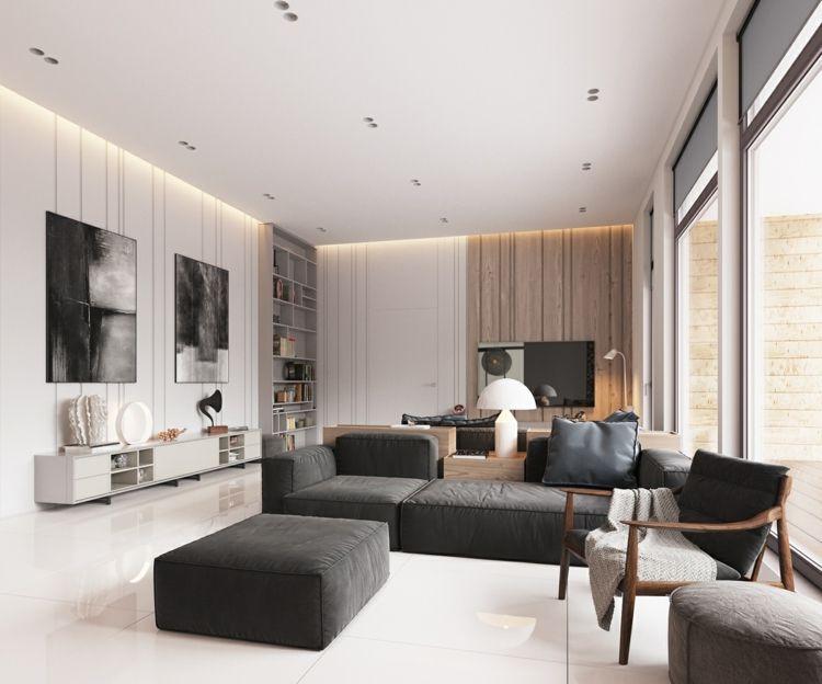 Großes und helles Wohnzimmer mit freiem Fußboden Home decor - großes bild wohnzimmer