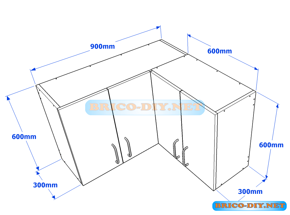 Muebles de cocina plano de alacena de melamina esquinera en L - Web del Brico...