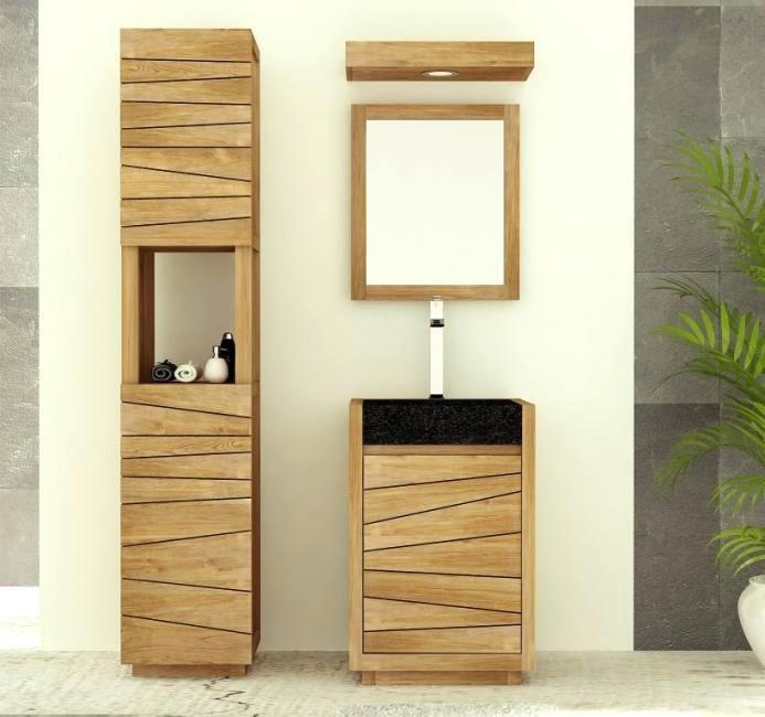 meuble salle de bain vasque colonne meuble de salle bain simple vasque achat teck tascon walk - Vasque Colonne Salle De Bain