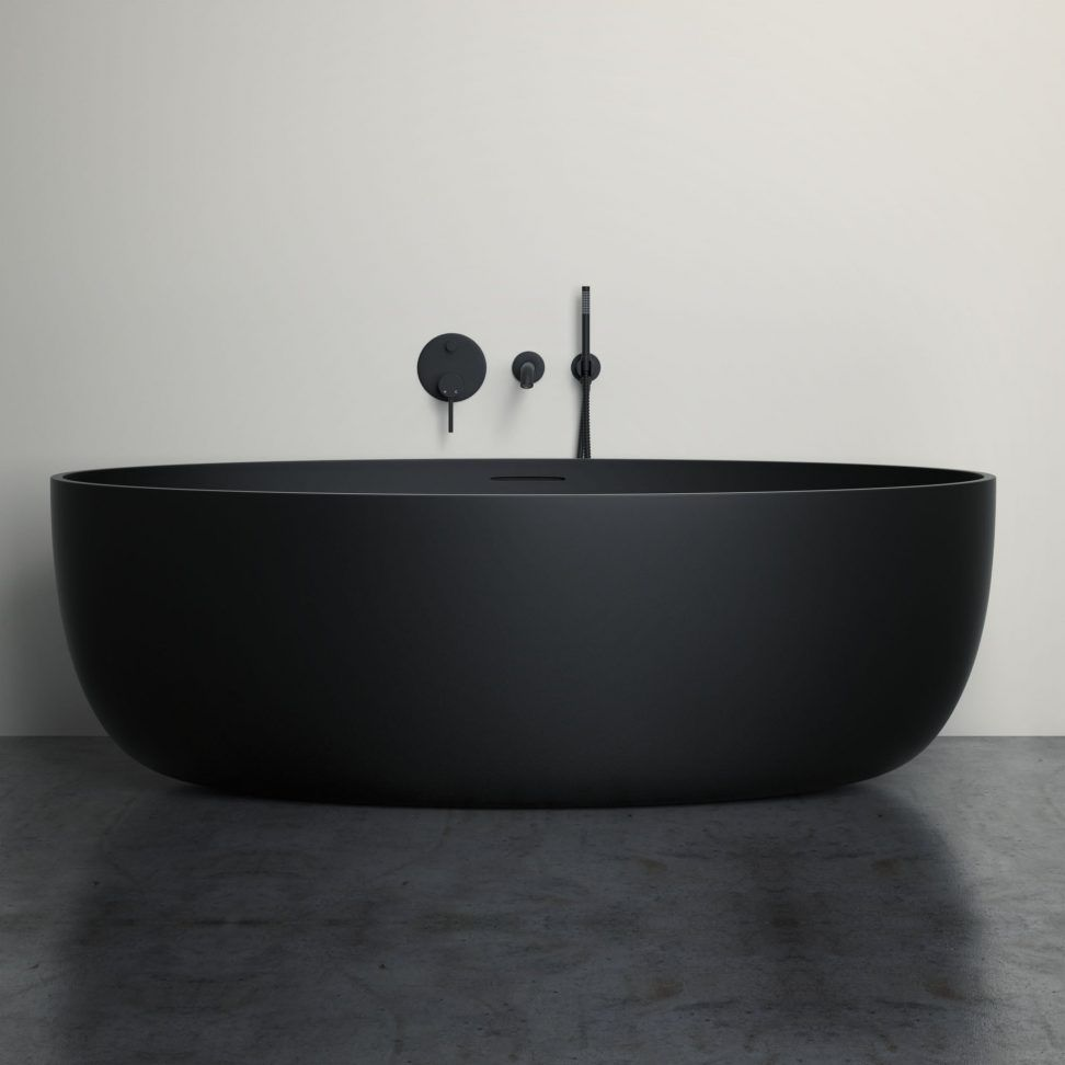 New Matte Black Bathroom Products | Lusso Stone. Lusso Stone Bath With Matte  Black Taps