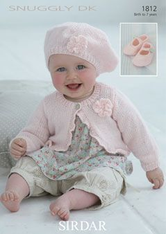 Toddler Girl Cardigan Knitting Pattern : Baby/ Toddler Girl DK knit Patterns beret and cardigan ...