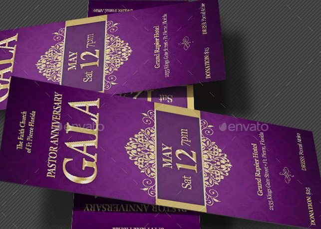 Pastor Anniversary Gala Ticket Template is an elegant event ticket - banquet ticket template
