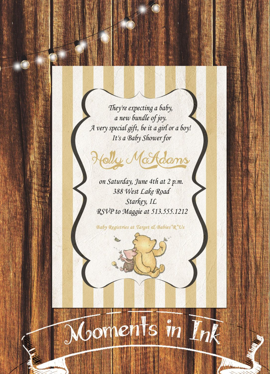 Classic winnie the pooh and piglet baby shower invitation