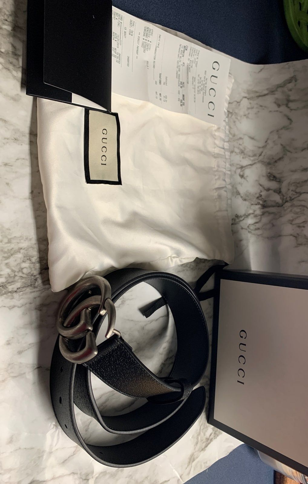 Authentic gucci belt like new with tags and a receipt to