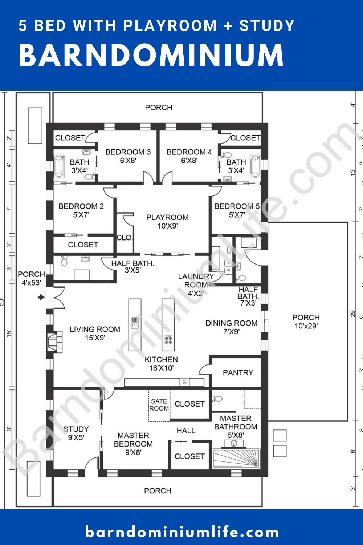 The Absolute Best 5 Bedroom Barndominium Floor Plans In 2020 Barndominium Floor Plans Barn Homes Floor Plans New House Plans