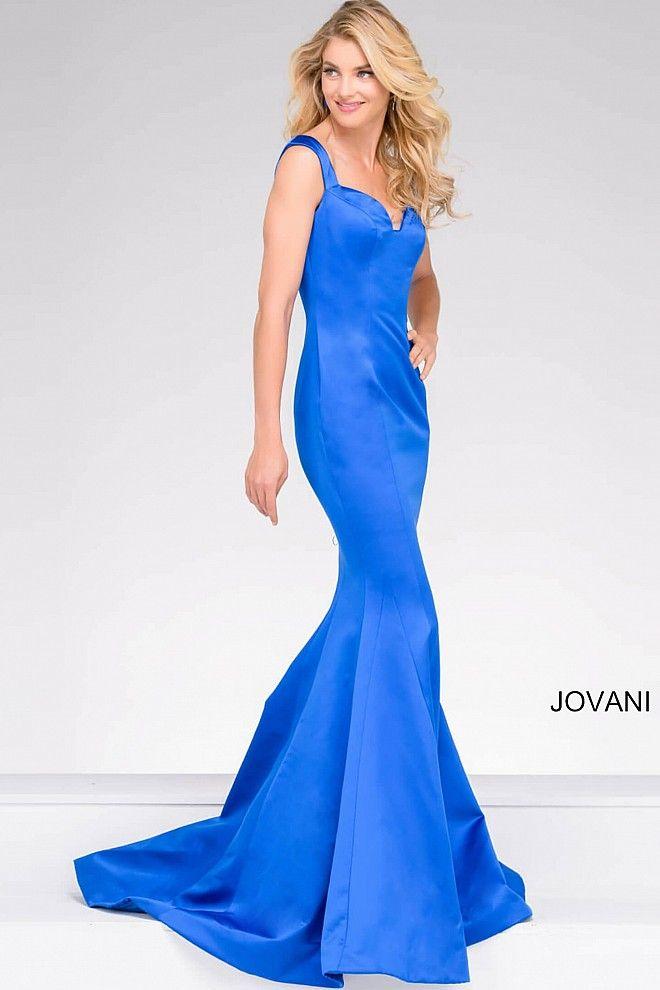 Elegant and simple floor length sleeveless satin mermaid prom gown ...
