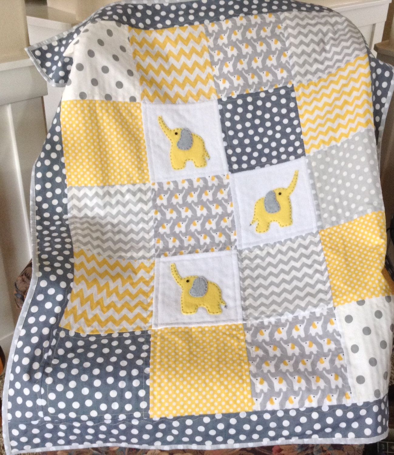 Elephants Yellow Gray Organic Flannel With Soft Minky Back Etsy Elephant Quilt Baby Quilts Easy Baby Girl Quilts
