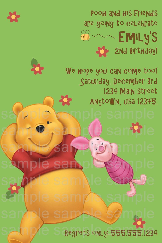 Winnie the Pooh Birthday Invitation by PoshPartyPrints on Etsy ...