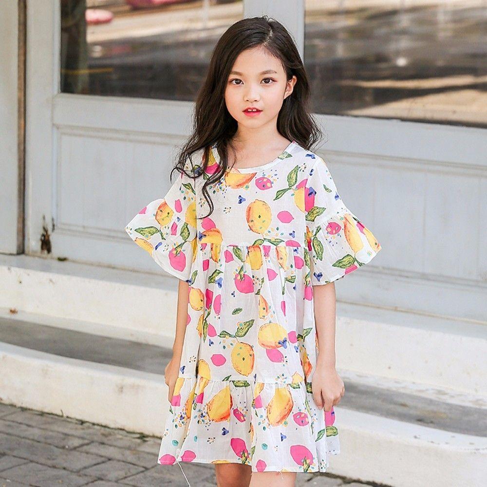 e34ba19c3e62f Pas cher Imprimé robe filles bébé printemps été 2018 blanc bleu petite fille  robes vêtements avec