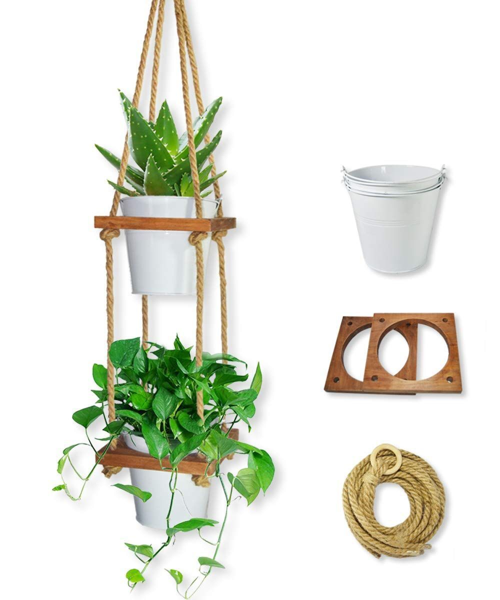 Lesen 2 Tier Hanging Planter For Indoor Plant Hanger Vertical Wall Plants Shelf Hanger Han In 2020 Outdoor Plant Hanger Indoor Plant Hangers Hanging Plants Indoor