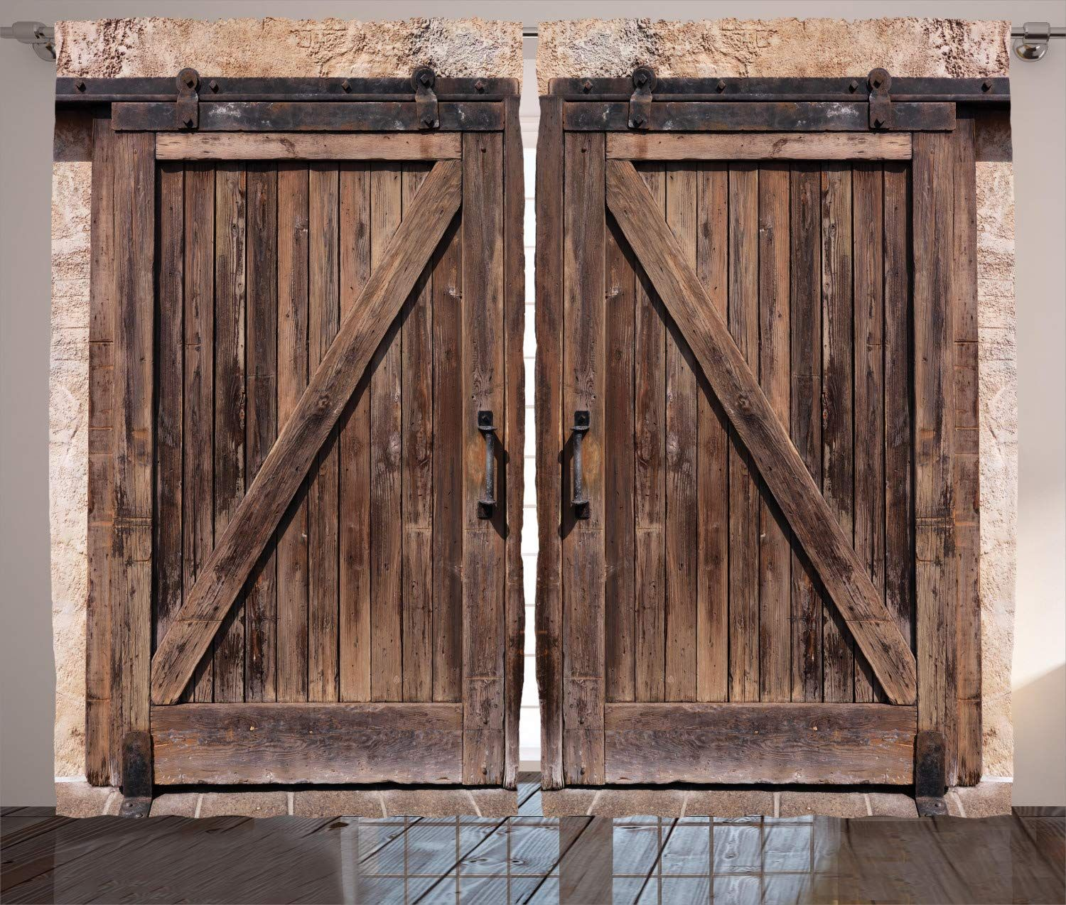 Ambesonne Rustic Curtains Wooden Barn Door In Stone Farmhouse Image Vintage Desgin Rural Art Architecture In 2020 Wooden Barn Doors Wooden Barn Rustic Shower Curtains