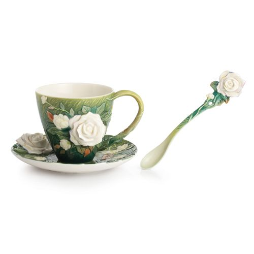 High Quality Franz Collection Porcelain Van Gogh White Roses Cup U0026 Saucer Set With Spoon Awesome Design