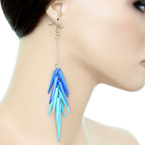 Blue Two Tone Drop Chain Spike Earrings | eBay