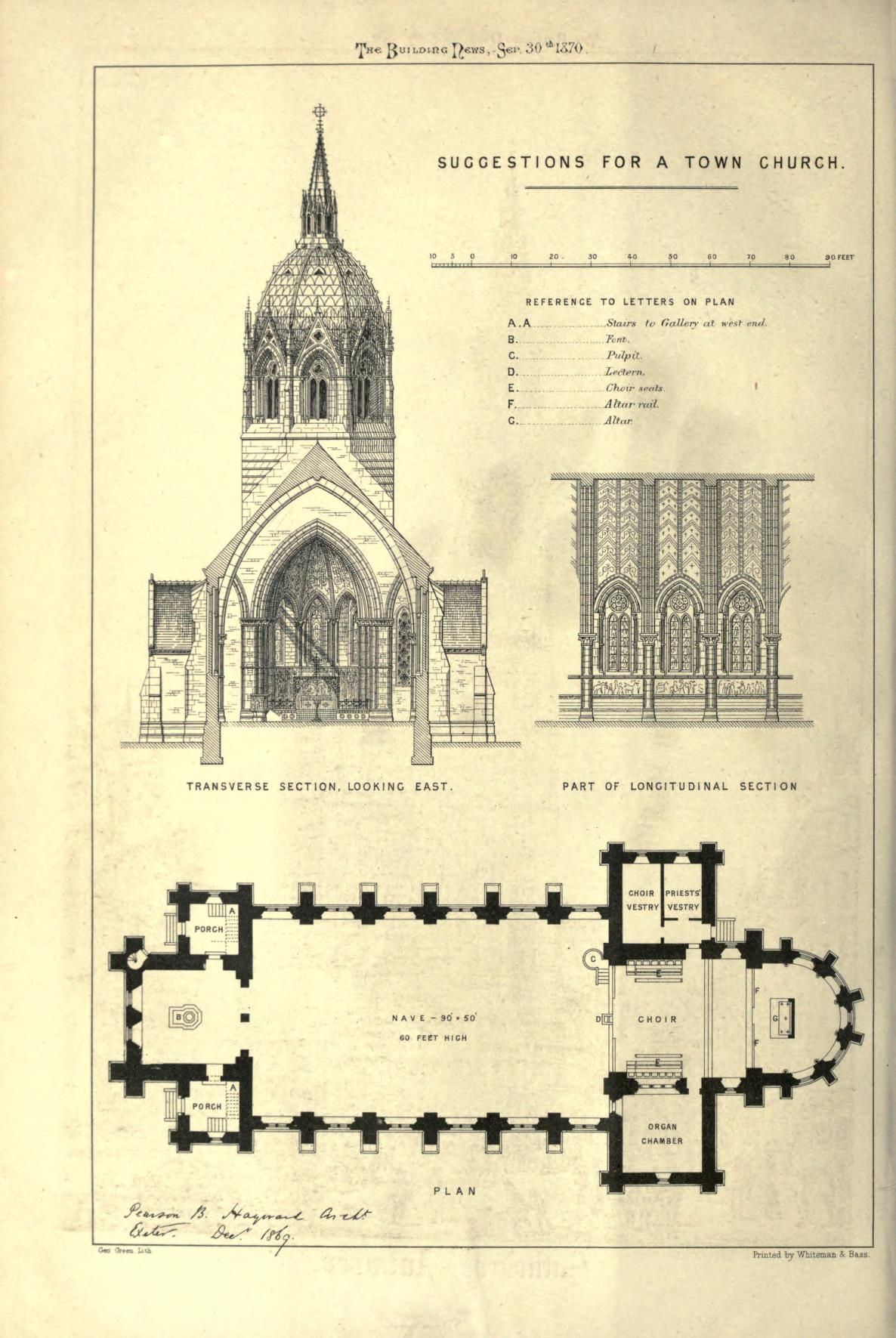 Suggestions For A Town Church 1870 Cathedral Architecture Church Architecture Church Building Plans