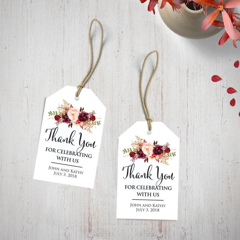 Wedding Gift Tags Custom Burgundy Thank You Wedding Favors Personalized Wedding Tags Floral Thank You For Celebrating With Us Tags Wedding Gift Tags Wedding Tags Wedding Favor Tags