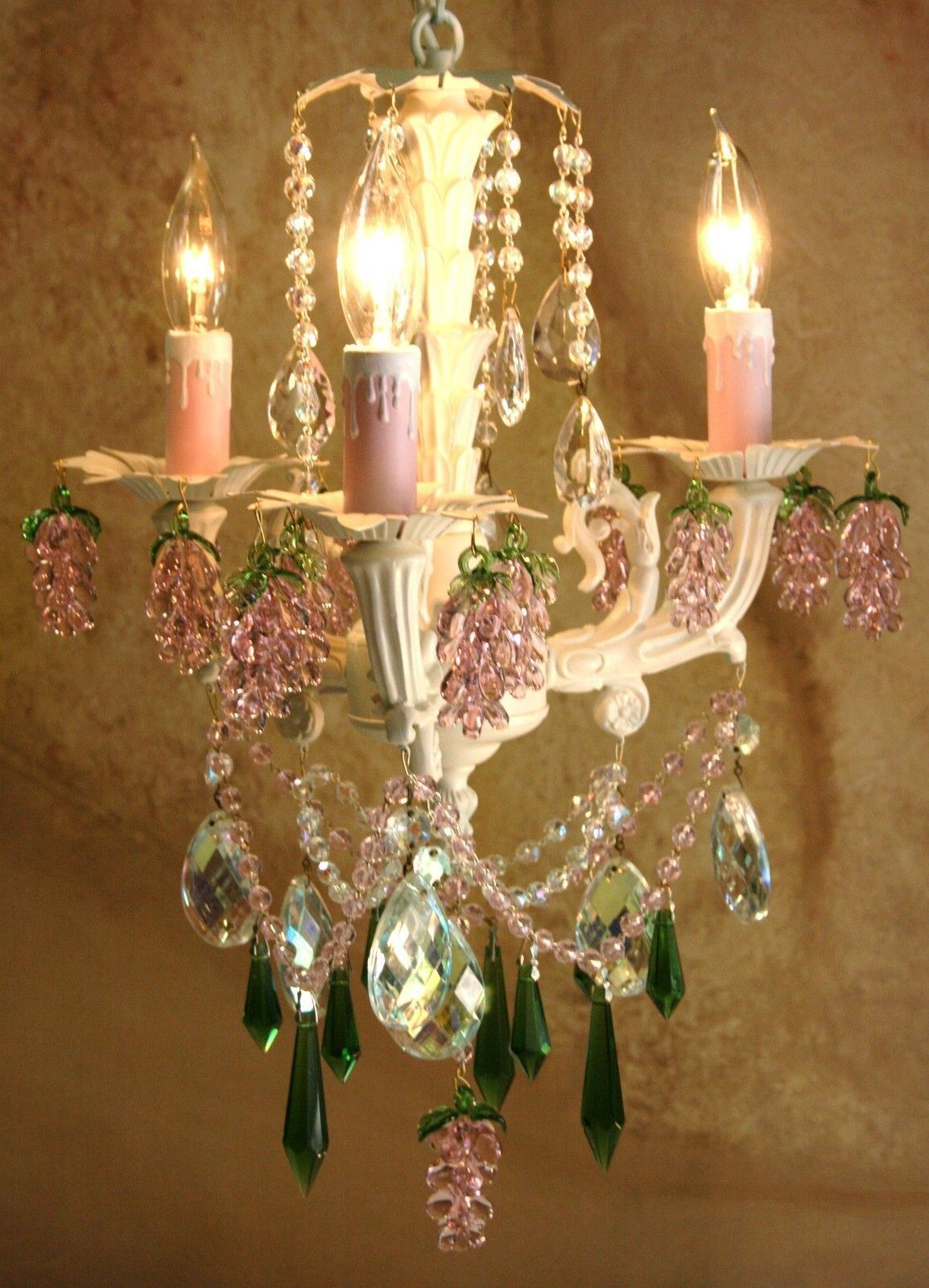 French le petite white chandelier with clear pink emerald green french le petite white chandelier with clear pink emerald green crystals arubaitofo Image collections