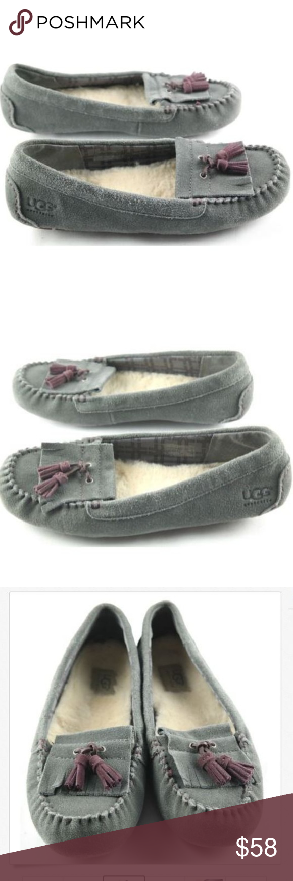 fef11761152 UGG Australia Lizzy Moccasin Slippers UGG Australia Lizzy Slipper Womens  Size 9 Gray Leather Slip On Tassel Moccasin Shoes show sign of regular use.