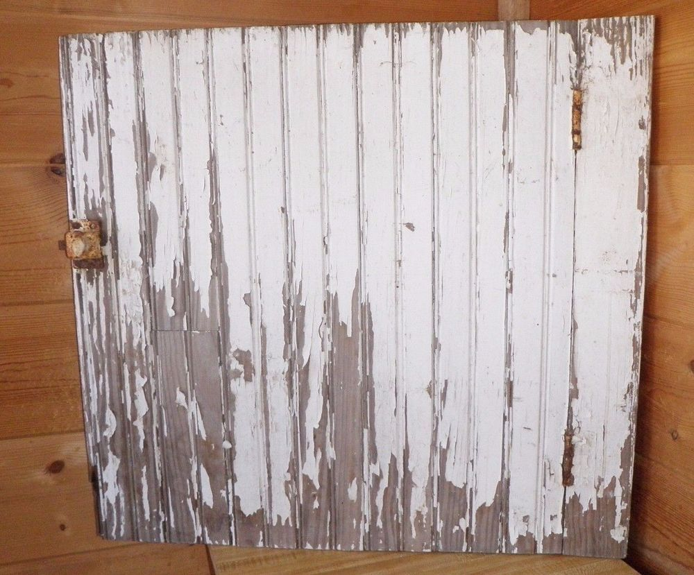 Antique Chippy White Beadboard Cabinet Door Salvage Wall Art 2534