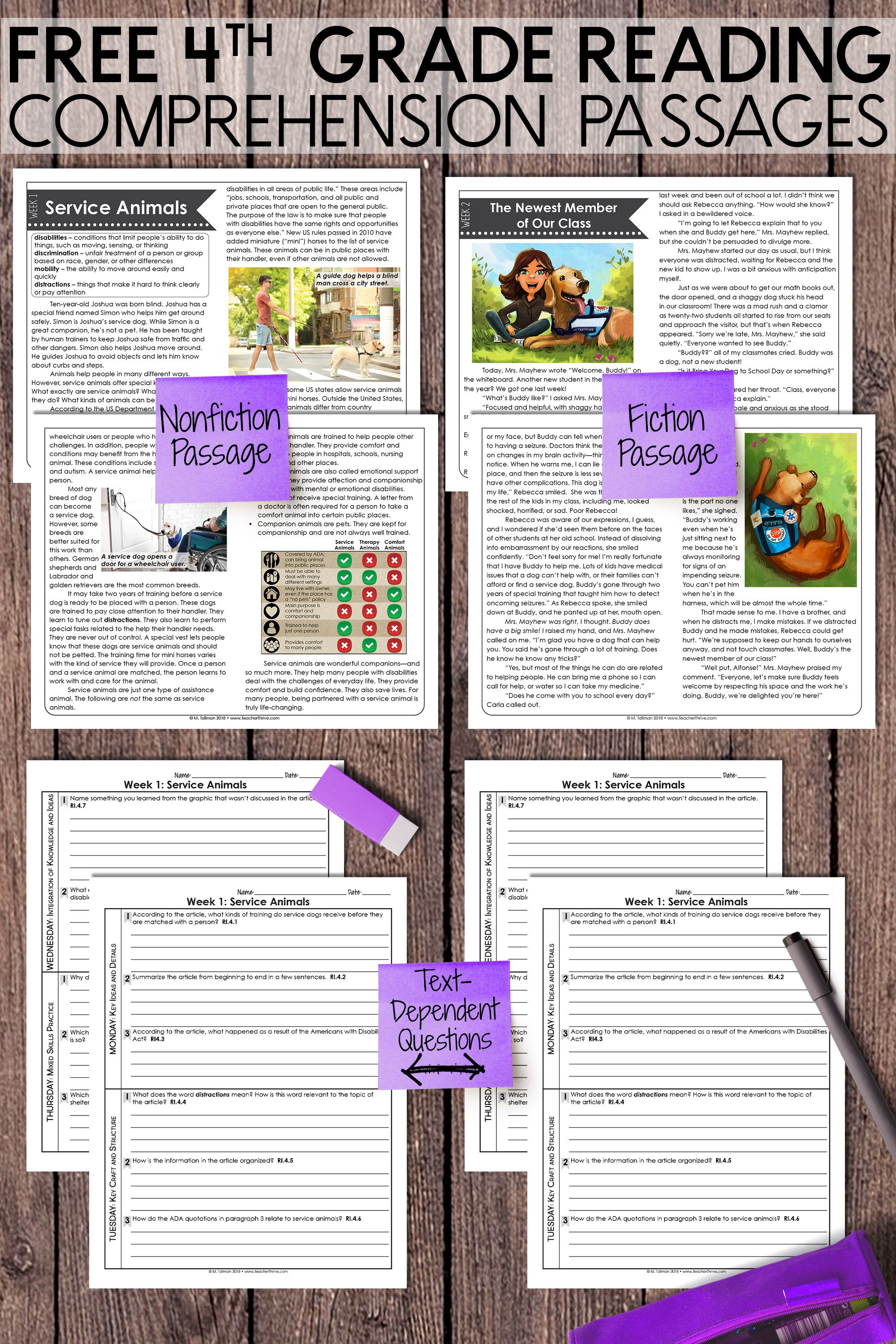 Free Fourth Grade Weekly Reading Comprehension Nonfiction