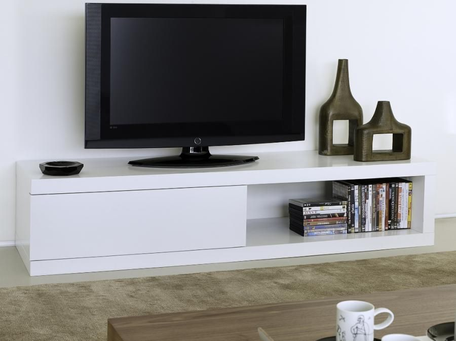 Tv Table With Storage Part - 29: Temahome Atoll Storage TV Stand In Pure White - Modern Chunky Low TV Unit  With Storage