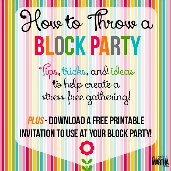 how to throw a block party printable invitation template block