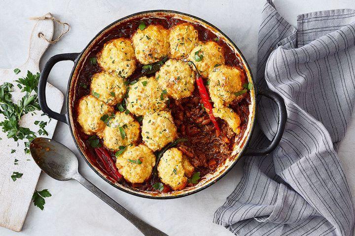 Chilli con carne with cheesy cornbread dumplings | Recipe ...