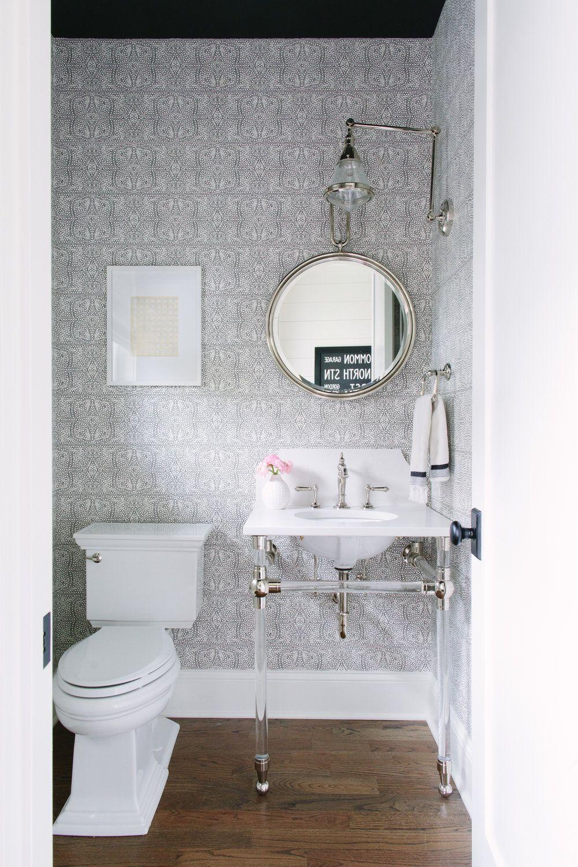 sister parish wallpaper Powder room design, Bathroom
