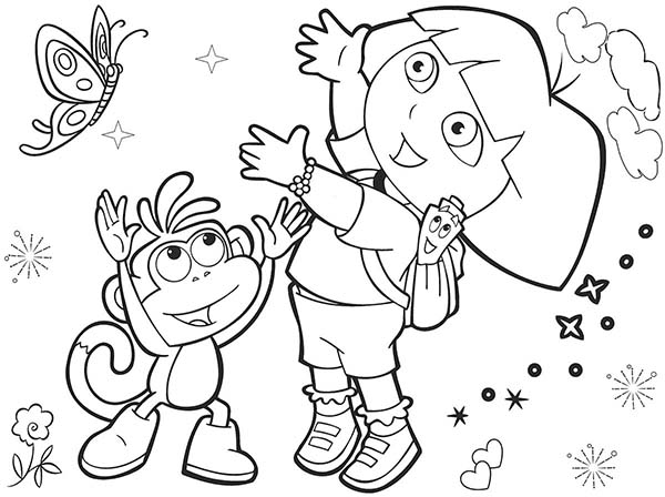 Dora and Boots and Beautiful Butterfly in Dora the