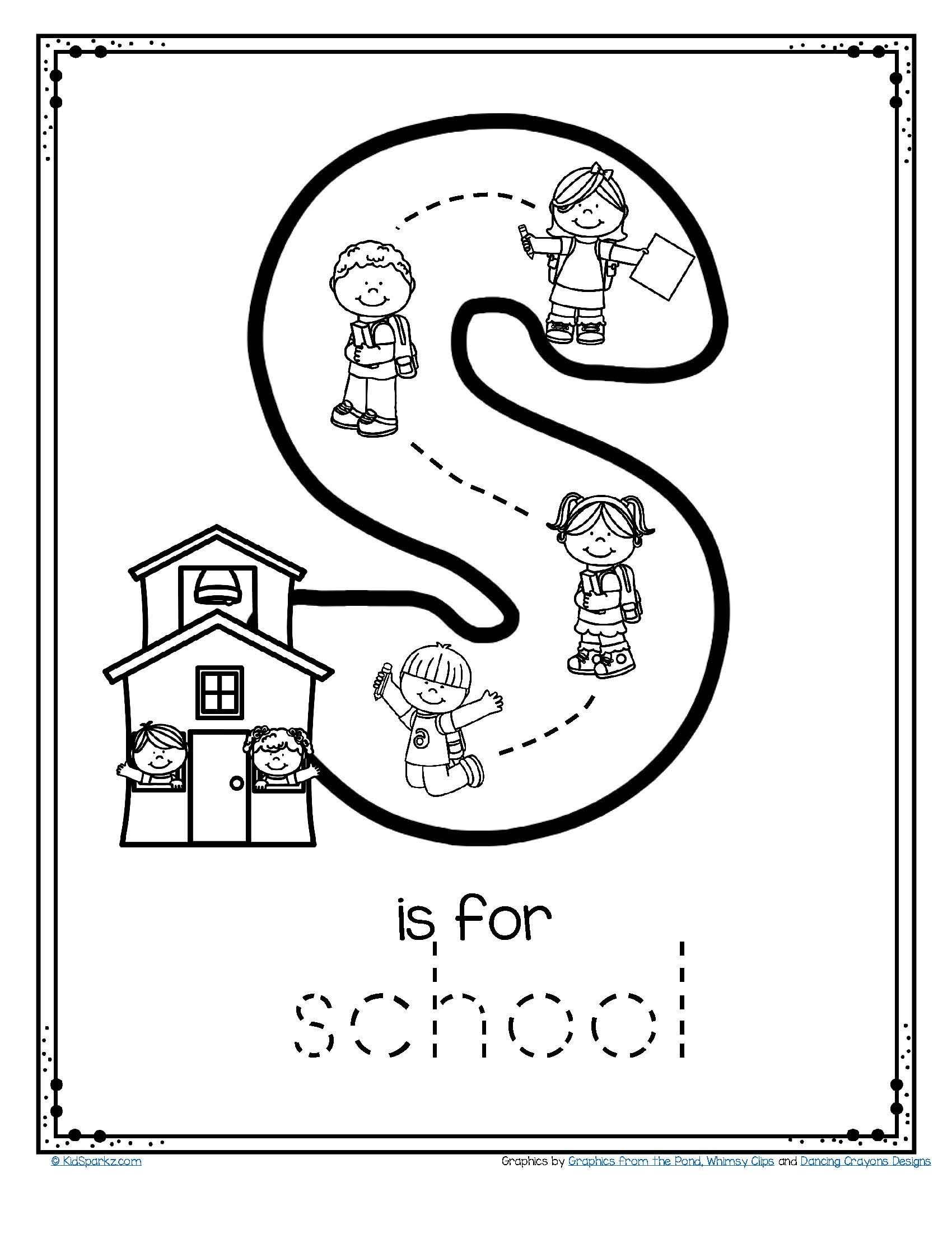 Letter S Is For School Trace And Color Printable Free