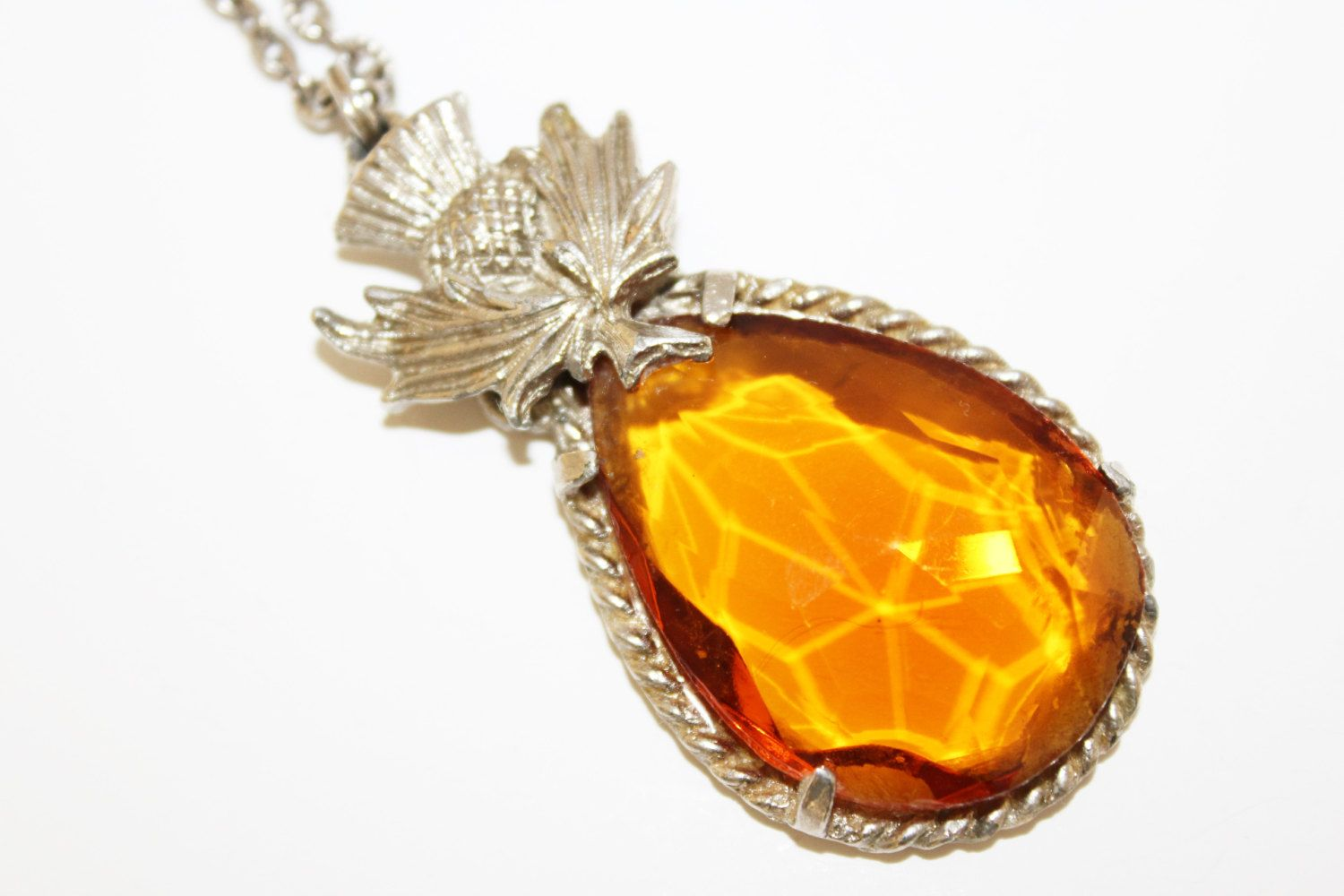 Scottish thistle silver coloured amber paste stone large pendant scottish thistle silver coloured amber paste stone large pendant necklace c1960s by gillardandmay aloadofball Choice Image