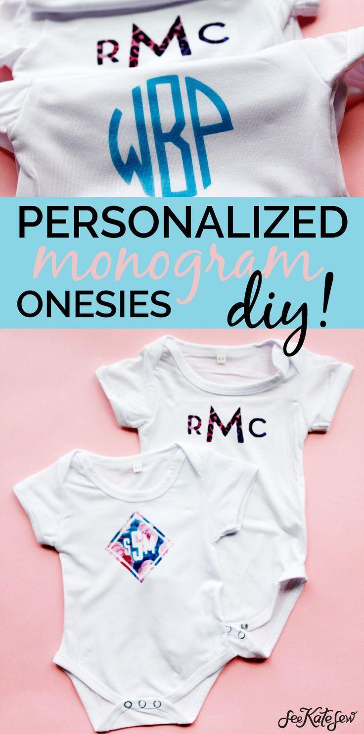 DIY Monogram Baby Onesie Baby monogram, Onesies, Diy