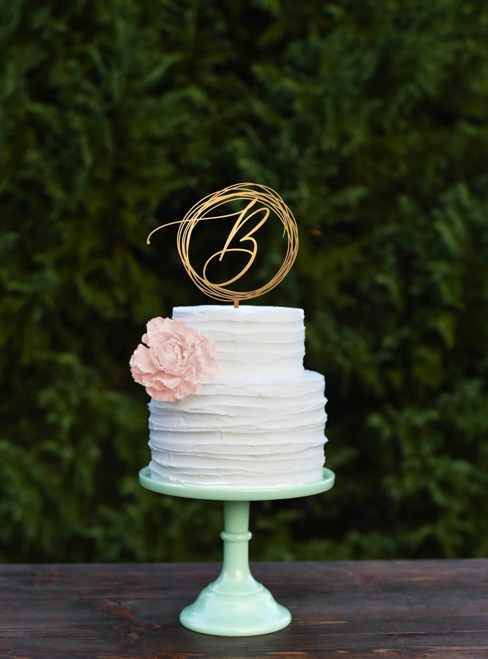 Initial Wedding Cake Topper Monogram Custom Cake Topper Personalized Letter Elegance Script Rose Gold Silver Decor