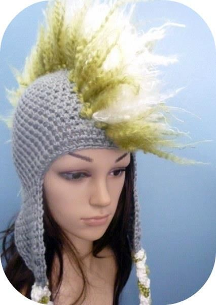 crochet hats | crocheted hat with mohawk hair. Great for anyone who ...