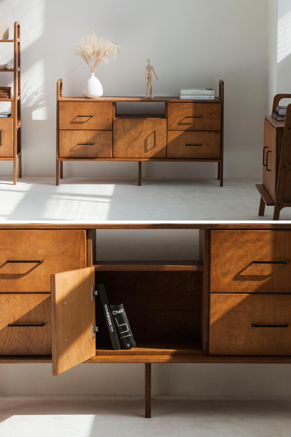 Sideboard With Drawers And Open Cabinet Frisk 460 Iv Mid Century Modern Style Plywood Project In 2020 Open Cabinets Cabinet Sideboard Cabinet