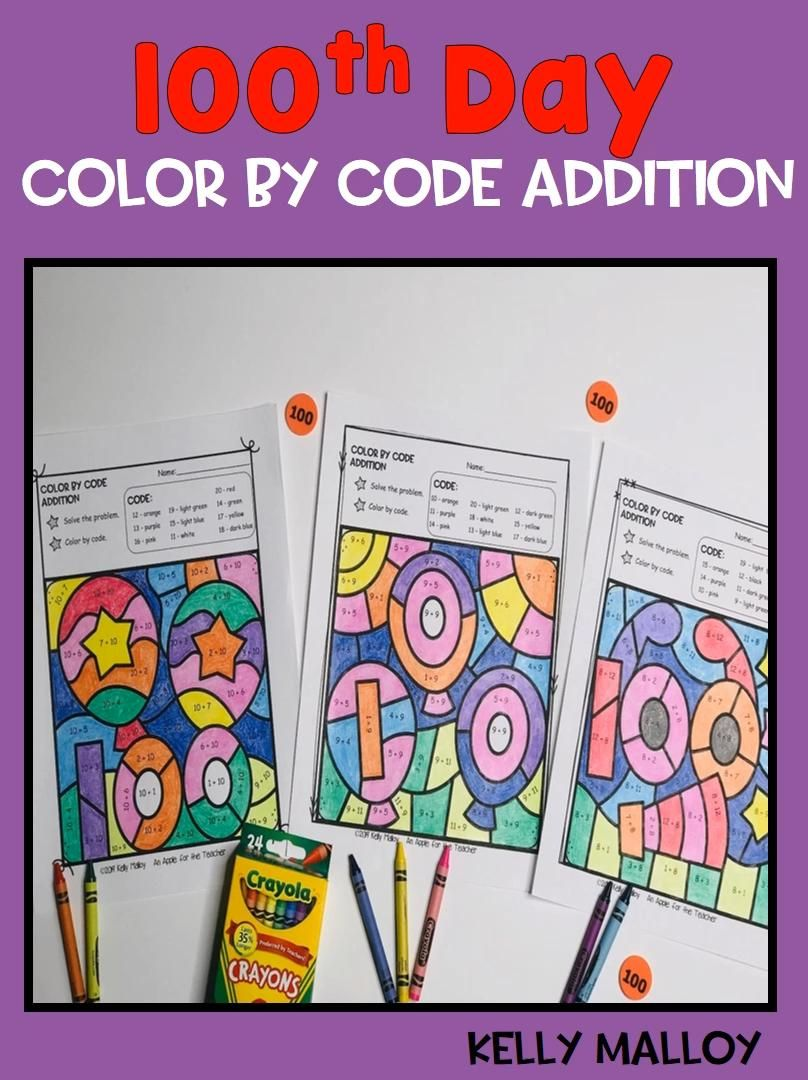 100th Day Of School Color By Number Video Video In 2021 100 Days Of School Math Fact Worksheets First Grade Resources [ 1080 x 808 Pixel ]