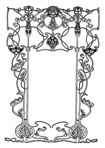 Coloring Page Art Nouveau Frame Img 27391 Clipart Kostenlos Jugendstil Ornamente Jugendstil Muster