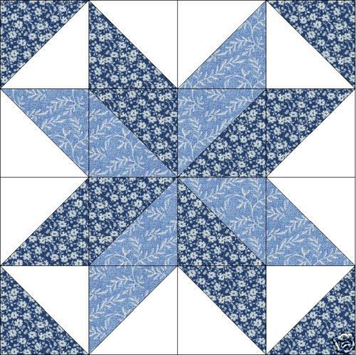 Maywood Blue Floral Star Quilt Top Block Precut Kit