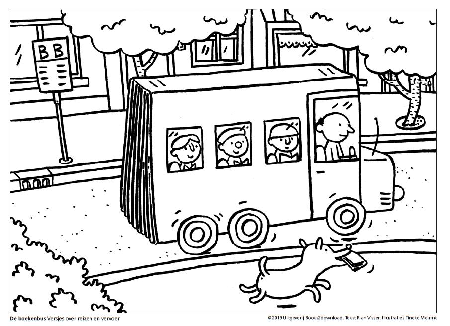 kleurplaat de boekenbus versjes reizen en vervoer