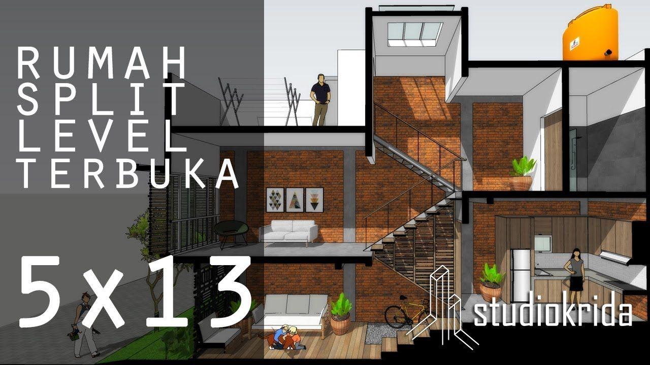 Rumah Split Level Terbuka Di 5x13 M2 Desain Rumah Rumah Minimalis Desain Rumah Minimalis