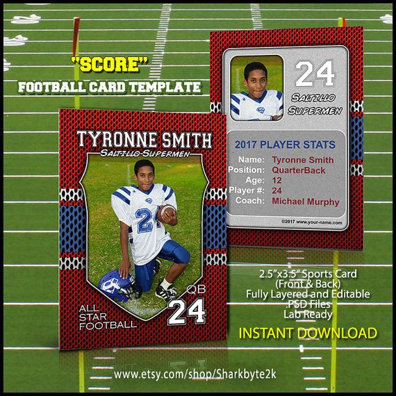 Football Sports Trader Card Template For Photoshop SCORE 2017 Season