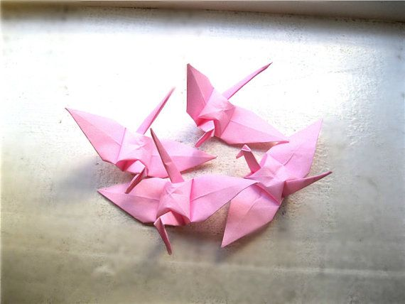 "100 light pink 3"" cranes ($15) {bought}"