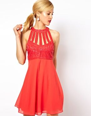 098b5676ce ASOS Skater Dress With Embellishment and Cage Detail