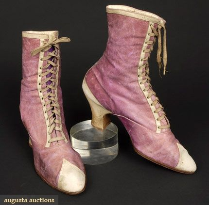 """LADY'S 2-TONE LEATHER BOOTS, 1890s  All leather: lilac w/ white trim, front lace, bottom stamped """"Cammeyer""""."""