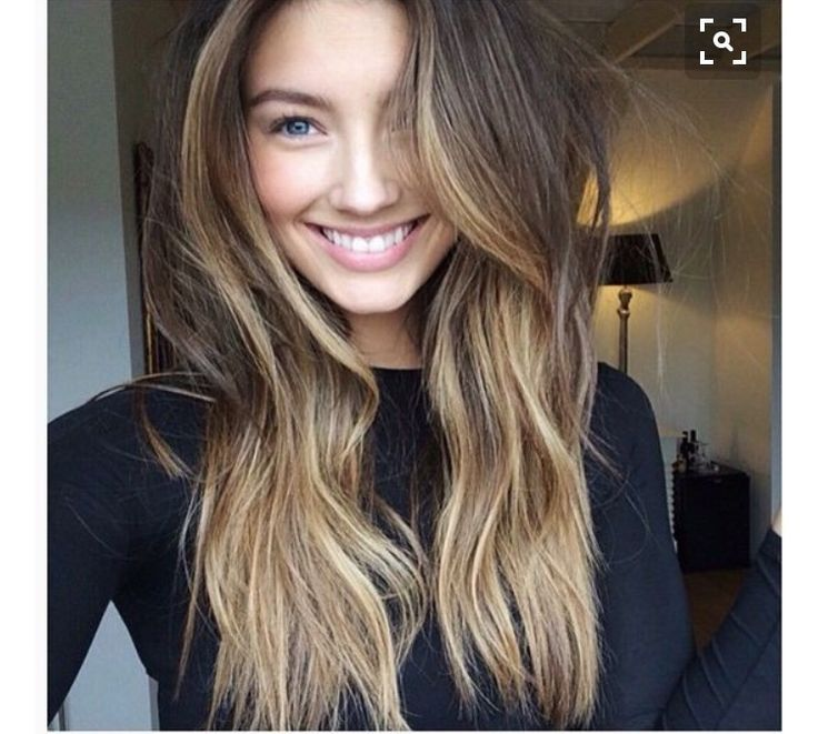 Caramel Ombre Highlights On Dark Brown Straight Hair This Placement